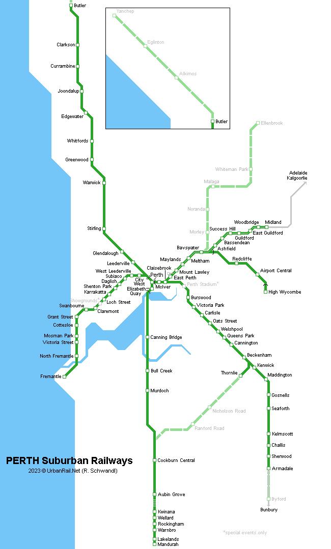 Map Australia Perth.Urbanrail Net Oceania Australia Perth Metropolitan Railways